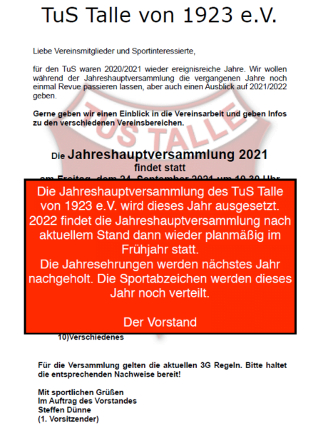 Absage JHV 2021